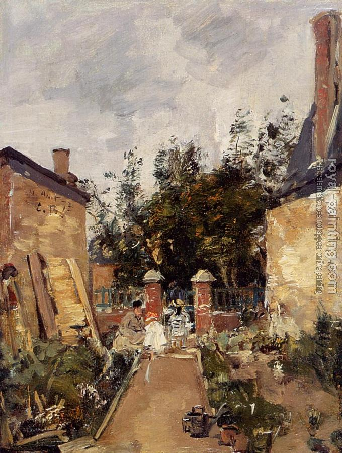 Eugene Boudin : Madame S with Her Children in Their Garden at Trouville
